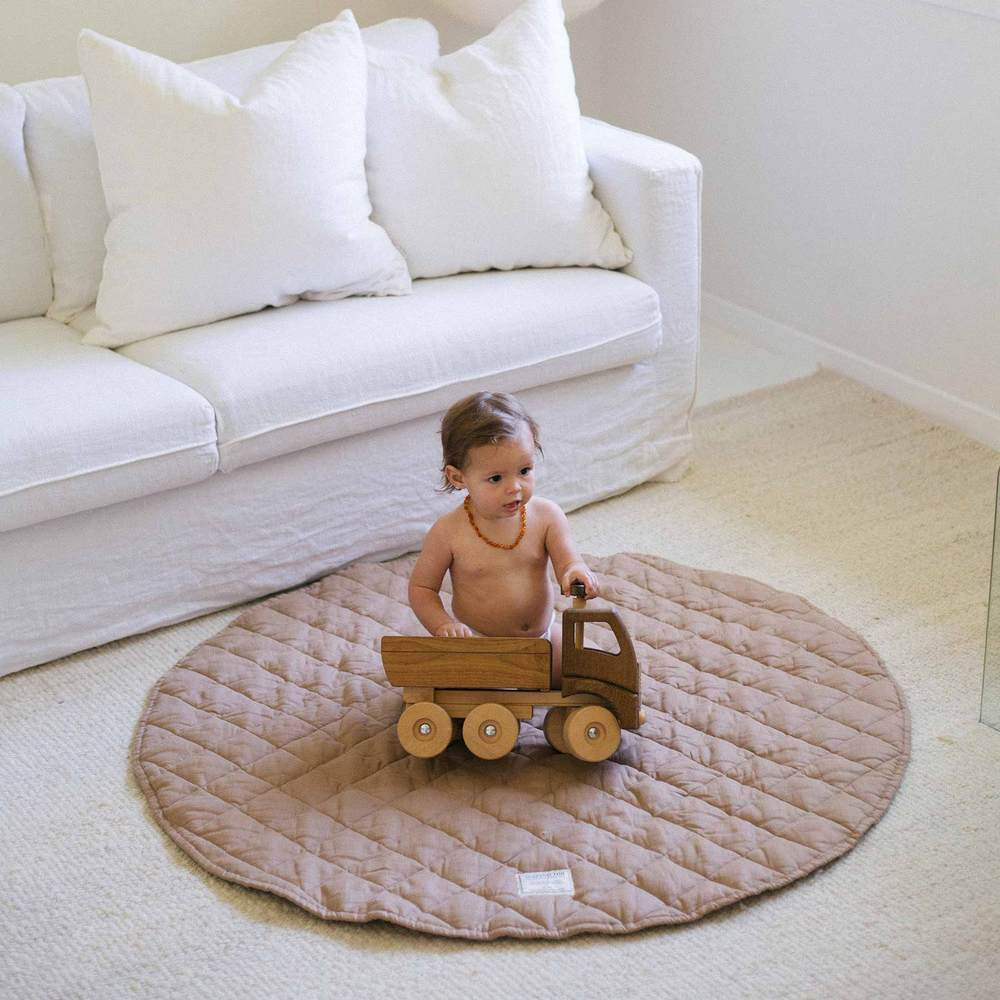 French Linen Quilted Play Mat | Chestnut
