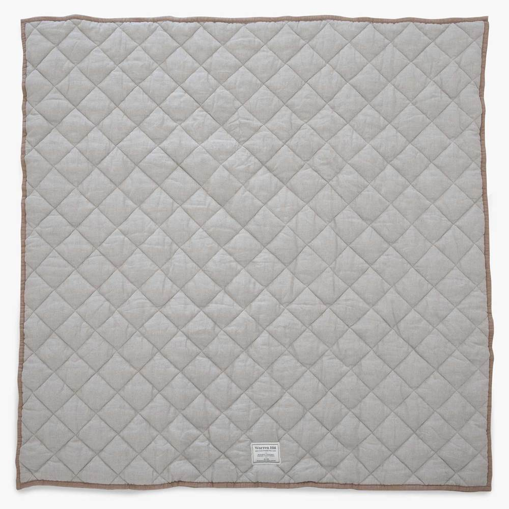 Quilted Linen Baby Play Mat | Natural + Chestnut