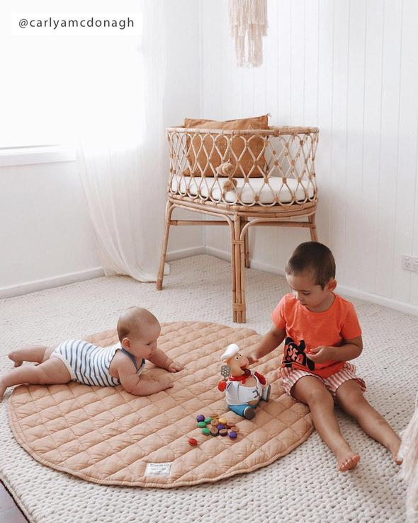 French Linen Quilted Play Mat | Oat
