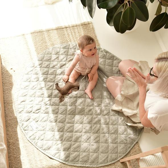 French Linen Quilted Play Mat | Natural