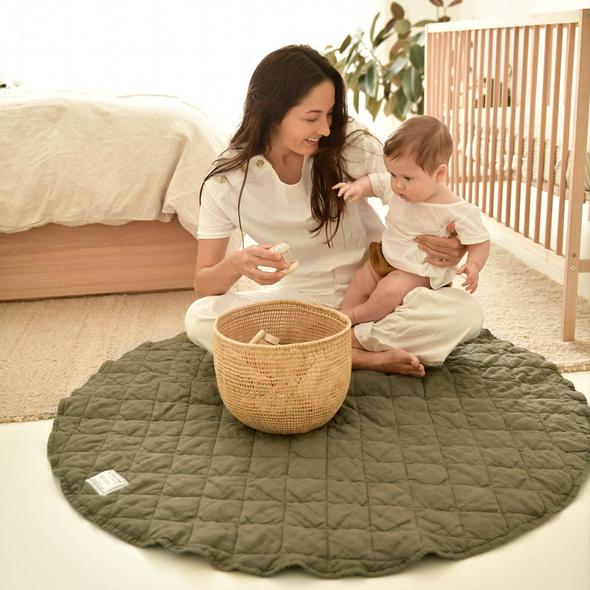 French Linen Quilted Play Mat | Olive