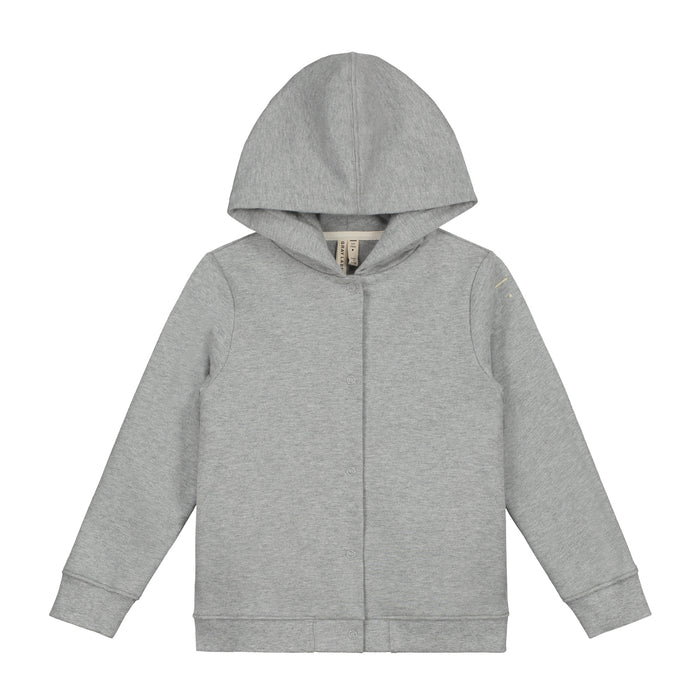 Hooded Button Sweatshirt | Grey Melange
