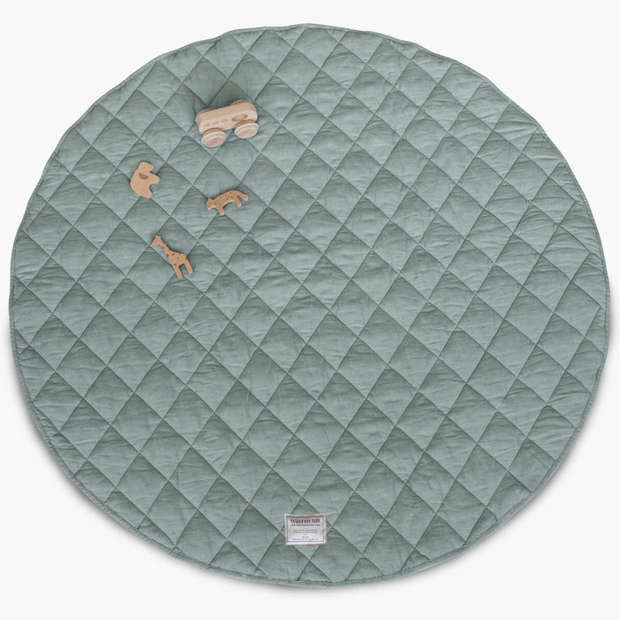French Linen Quilted Play Mat | Aqua