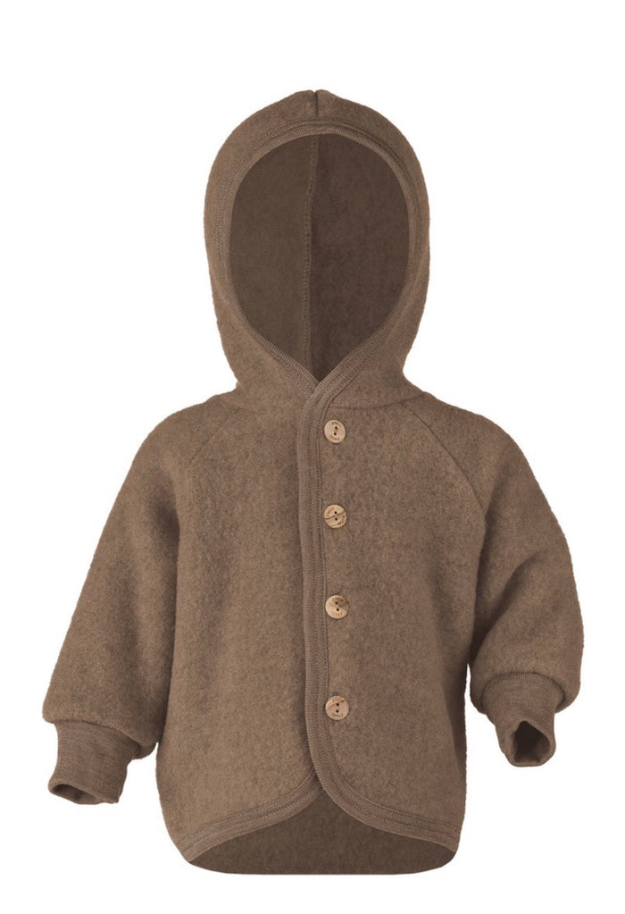 Wool Fleece Hooded Jacket | Walnut