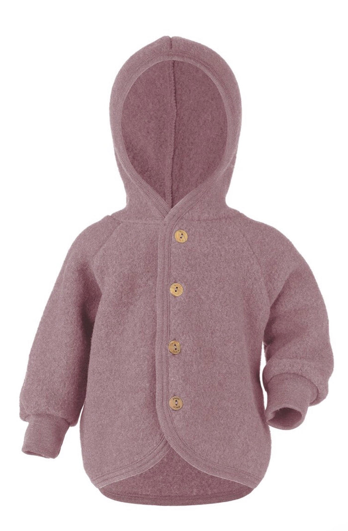 Wool Fleece Hooded Jacket | Lilac Rose