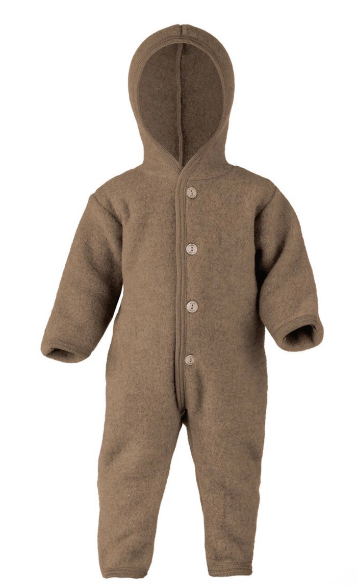 Wool Fleece Baby Overall | Walnut