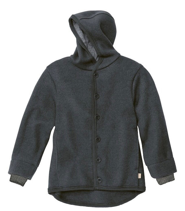 Boiled Wool Hooded Jacket | Anthracite