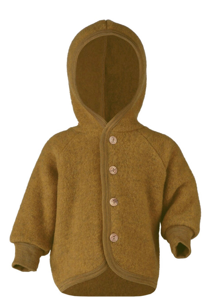 Wool Fleece Hooded Jacket | Saffron