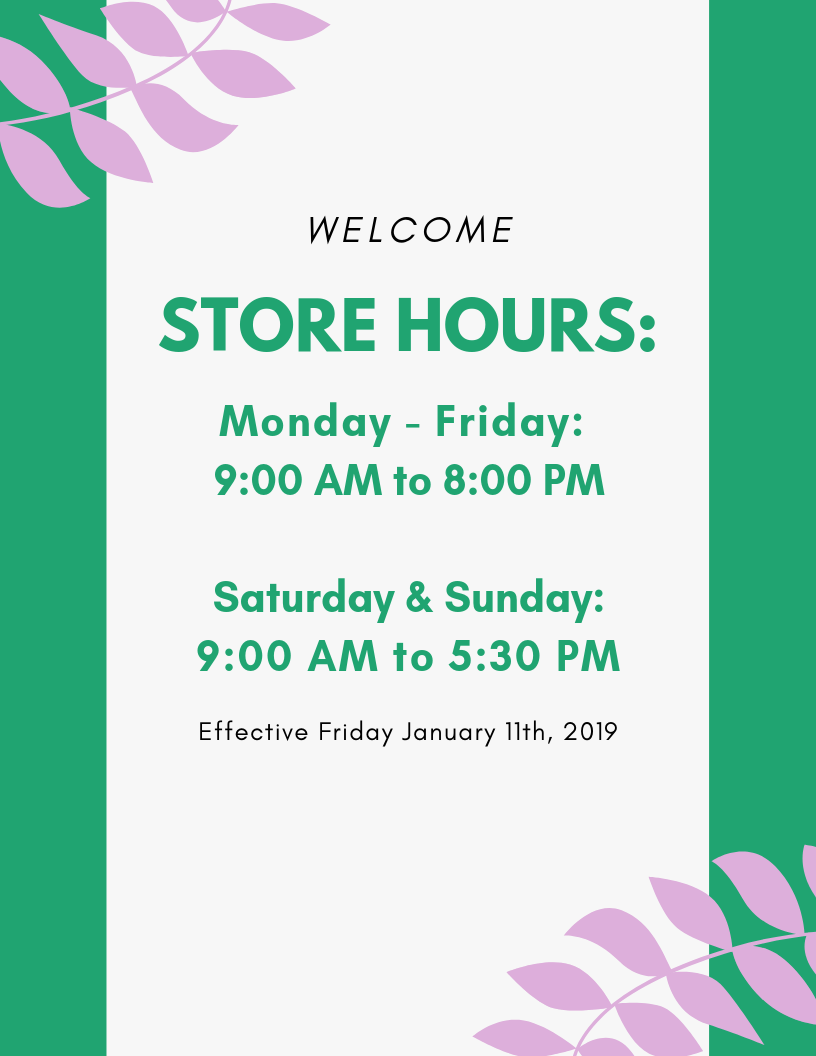 New Store Hours for 2019!