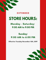 Castle Toys: Extended Holiday Hours Poster. Monday to Saturday: 9:00 AM - 9:00 PM; Sunday: 9:00 AM - 6:00 PM