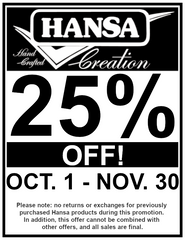 Hansa 25% off sale; starts October and ends on November 30th.