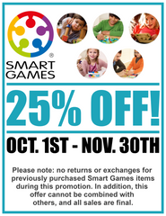 Smart Games 25% off sale from October to November