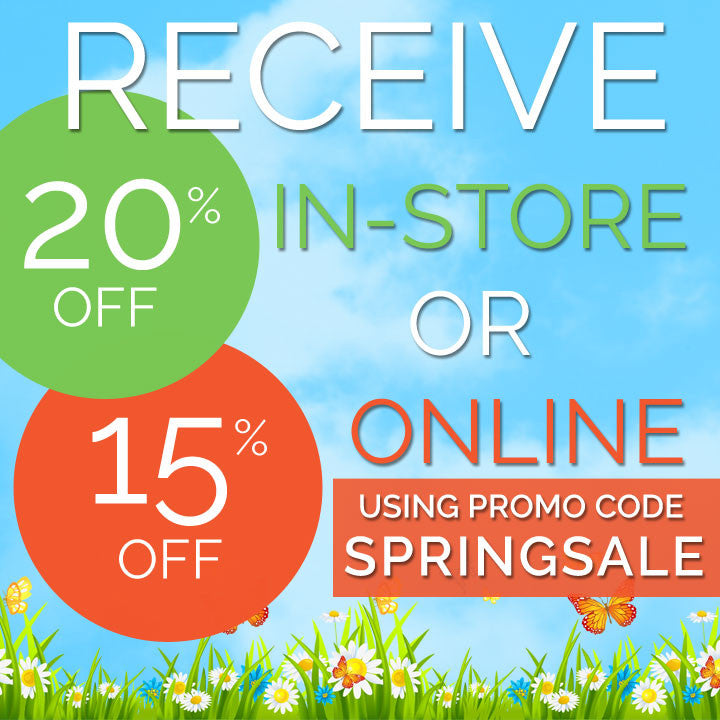 Receive 20% off in-store or 15% off online using promo code 'SPRINGSALE'.