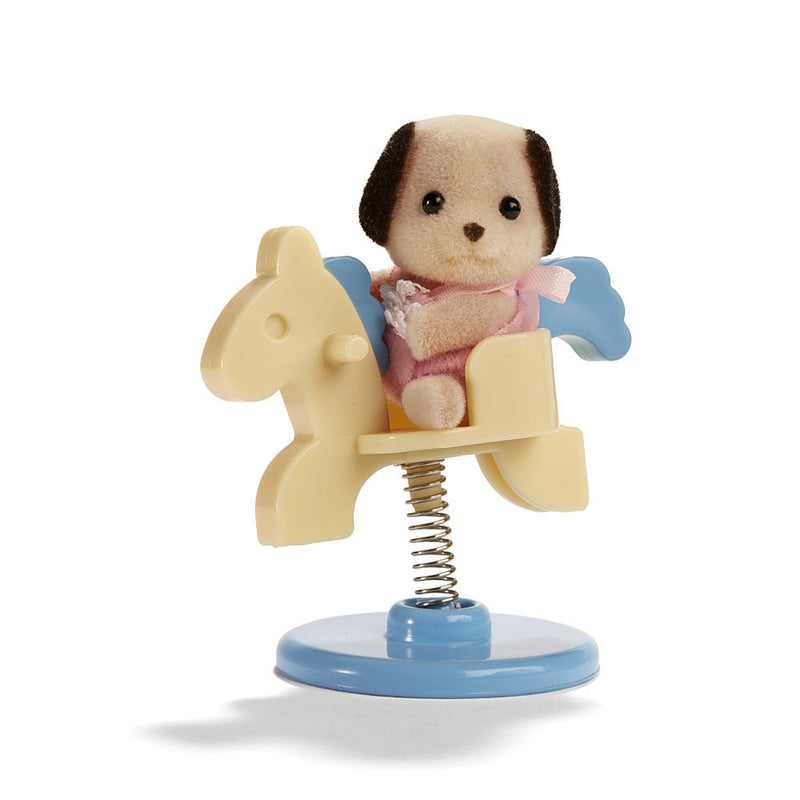 Calico Critters CC1965 Baby Carry Case Beagle Dog On Spring Horse