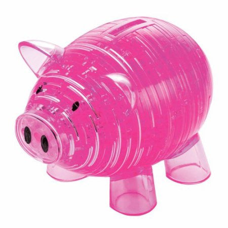 Puzzle meets bank, in this Piggy Bank Deluxe Crystal Puzzle from BePuzzled. Delight your mind and eyes with this Deluxe 3D brainteaser that saves your pennies! When you've pieced its interlocking plastic pieces together (be ready for a challenge), you can actually save your coins in this delightful piggy bank. Just remove the piggy's tail when you want to withdraw your money. You can personalize your pig with the stickers included with the puzzle. After your hard work, you'll be proud to display this sleek,