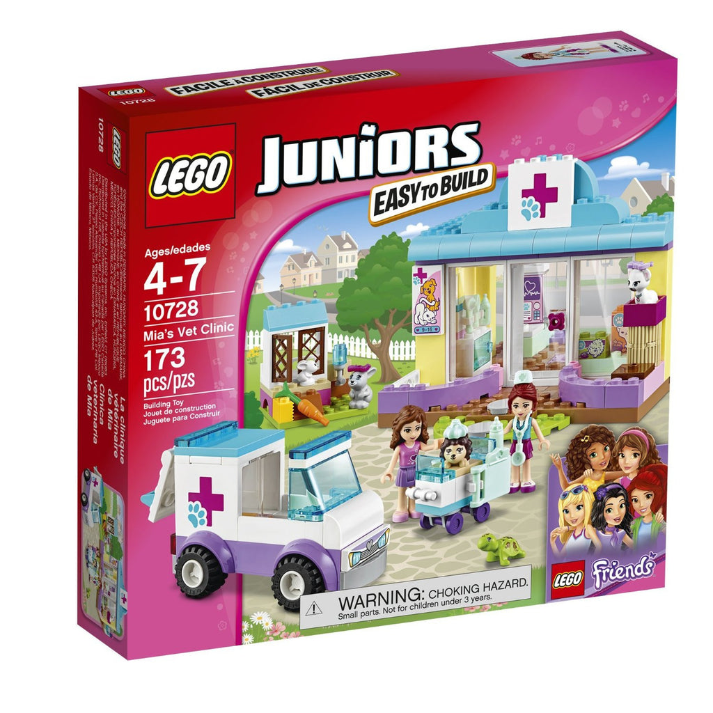 Join Olivia and Mia as they work to help injured and sick animals get better in the LEGO juniors vet clinic open the clinic with Mia and get ready for the day's patients. Tell Olivia about an animal that needs to be picked up in the ambulance and then meet her when she arrives. Bring the animal into the clinic so Mia can begin treating it. Help make the animals comfortable until they're all better.