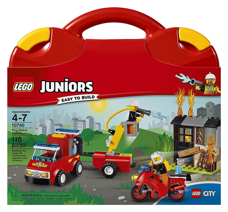 Be prepared for a LEGO. City emergency wherever you are with this fun, easy-to-carry suitcase play set, featuring a fire pickup with adjustable cherry picker and motorcycle to put out the flames of the buildable abandoned house with opening door. LEGO Juniors is an age-appropriate build and play experience for ages 4-7. Includes two minifigures.