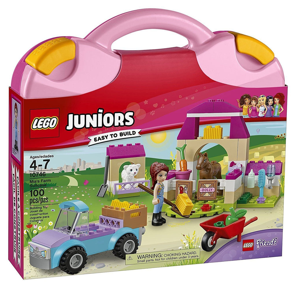 Jump in the pickup and drive with Mia to the LEGO Friends farm to feed the animals, featuring a stable with opening gate, pen, wheelbarrow, hay bales and assorted food elements and farmyard tools. Help children learn to care for and nurture the animals with this easy-to-carry suitcase play set. LEGO Juniors is an age-appropriate build and play experience for ages 4-7. Includes a Mia mini-doll figure, plus foal and lamb figures.