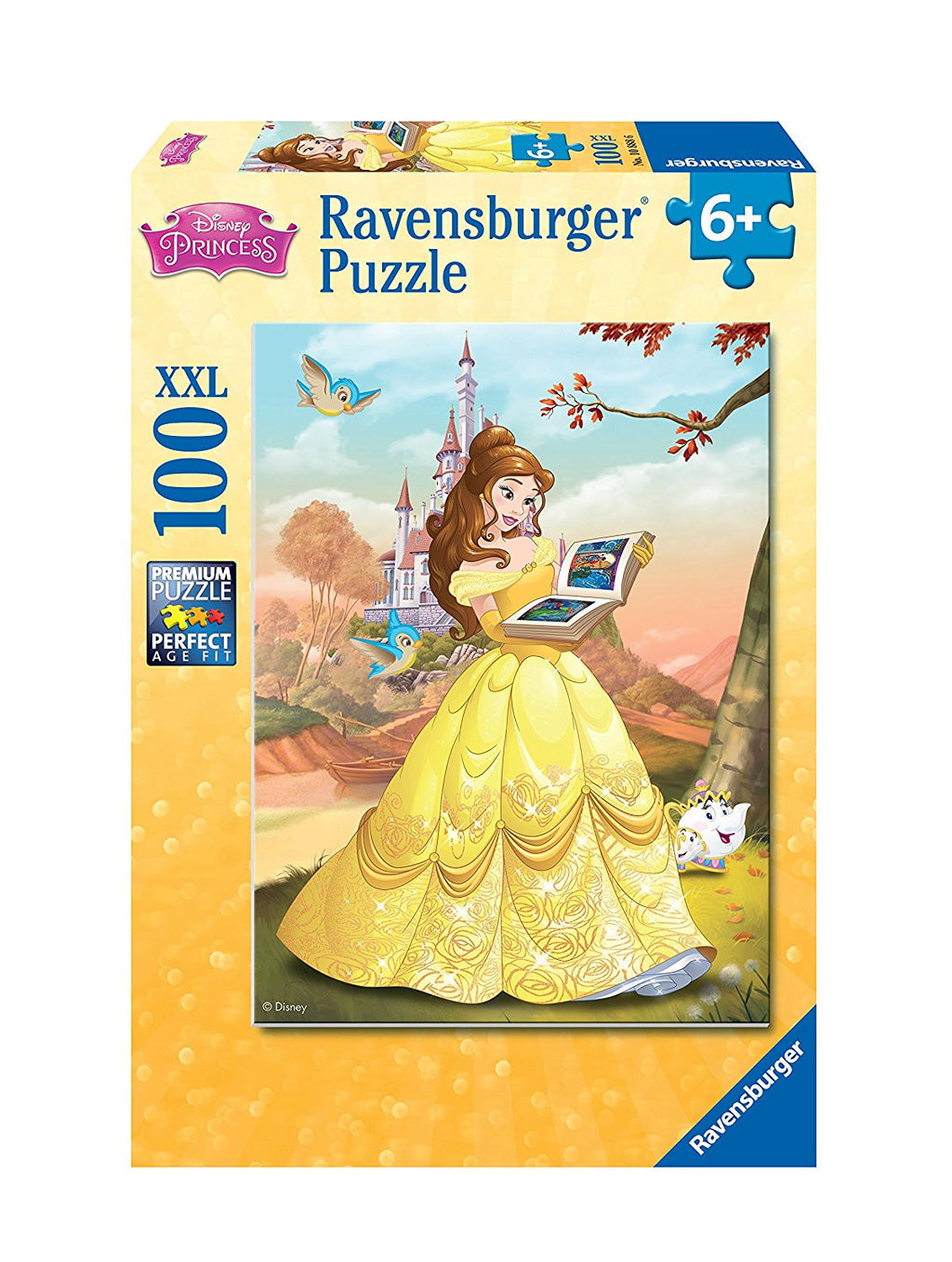 Bookish Belle reads a favorite fairy tale in this pretty,100-piece puzzle from Disney's Beauty and the Beast Assemble 100 pieces to reveal the scene, including Mrs. Potts and Chip.