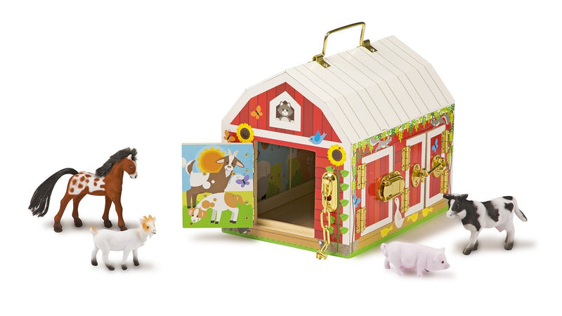 Unhook the latches to open the barn doors and see who is inside, then close the doors and buckle up the barn again! this beautifully crafted sturdy wooden barn is brightly painted both inside and out. It features six brass-hinged doors with working latches and locks, and pictures of farm animals on the inside of each door. There's even a brass handle on top to take the fun wherever kids go! the set comes with four approximately three-inch-tall flocked play figures-- a cow, a Pig, a goat, and a horse --that