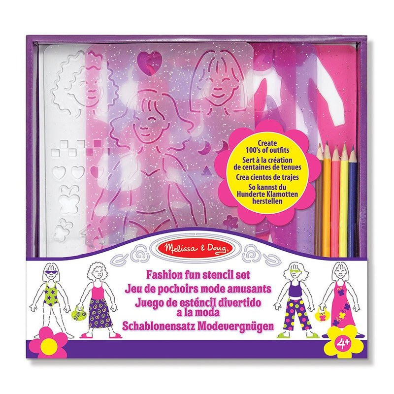 "Made by Melissa & Doug. Your little designer will be ready for the runway with this fashionable stencil set. Select a hairstyle and the shape of next season's hot designs, then trace and decorate! This stylish set includes stencils, a rainbow of colored pencils and an eraser. Dimensions: 11.63"" x 11"" x 1.75"" Assembled Recommended Ages: 3+ years Contents: 4 stencil plates, 5 pencils and eraser"