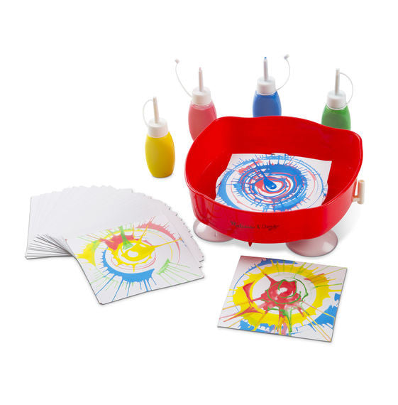 Spin your way to exciting new designs without batteries or assembly! This hand-operated, easy-to-clean spinner art set includes four colorful long-tipped tubes of paint, twenty-five design cards and a suction cup base to hold it in place!
