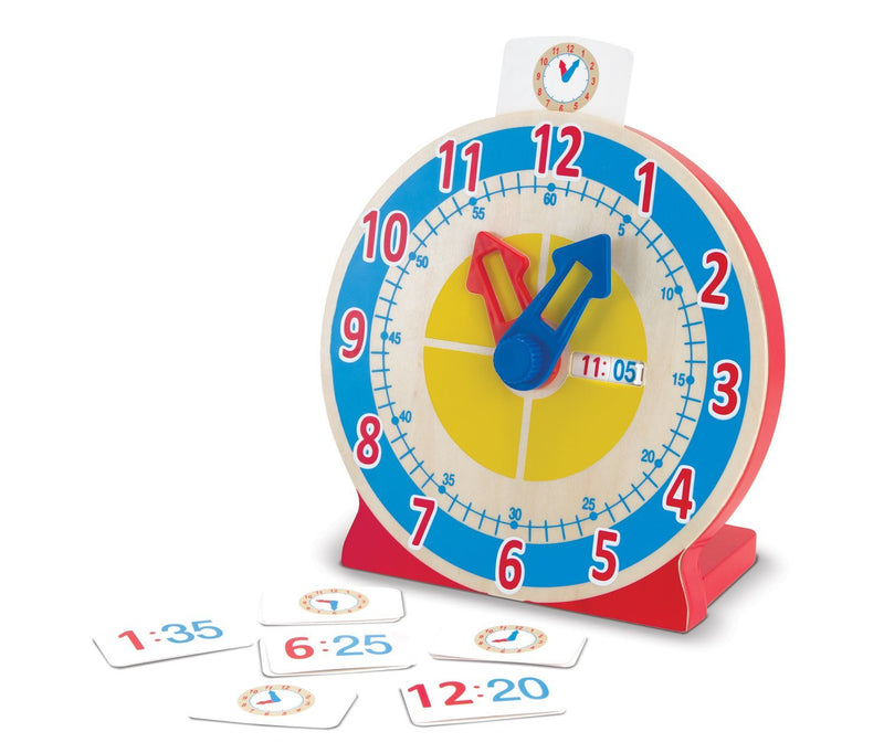 "Perfect for kids who are ready to learn to tell time, this learning clock features hands that rotate with a gentle click, marking off the minutes as they go. The detailed clock face has large red numbers to match the hour hand, small blue numbers to match the minute hand, and a segmented color disk to help kids visualize ""quarter past"" and ""half past."" Also included are 13 double-sided time cards for practice: Place one in the holder at the top of the clock, then match the numeric or analog time shown by mo"