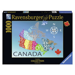 This puzzle from the Ravensburger Canada Collection features a map of Canada with the provinces reproduced in colourful text. Designed by Canadian artist Louise Jessup who is from Kitchener, Ontario, Canada.