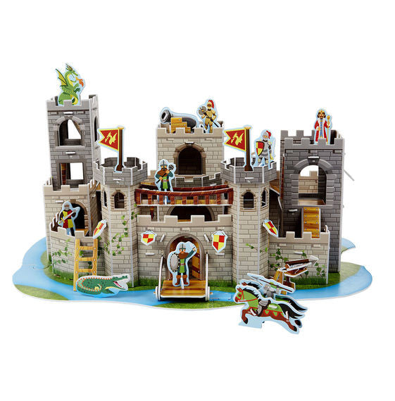 Take puzzle building to regal new heights with this medieval castle play set and puzzle in one! Detailed section by section instructions help kids fit together the more than 100 foam pieces--with no glue or scissors required--into a multi-level fortress, complete with turrets, a moat, a drawbridge that raises and lowers, a secret door in the castle wall, a dungeon, and a hidden trap door! The castle opens for added play space and includes accessories and play pieces like horses, a dragon, an alligator, shie
