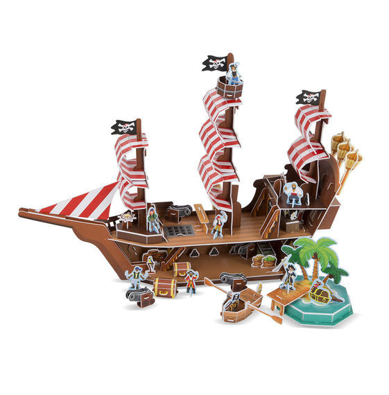 Take puzzle building to swashbuckling new heights with this pirate ship play set and puzzle in one! Detailed section by section instructions help kids fit together the more than 100 foam pieces--with no glue or scissors required--into a multi-level pirate ship, complete with three masts, a crow's nest, ship's wheels that spin, a working hatch, and even a plank to walk! The set includes a separate deserted island and row boat, accessories and play pieces like a treasure chest, cannons, and pirate and parrot