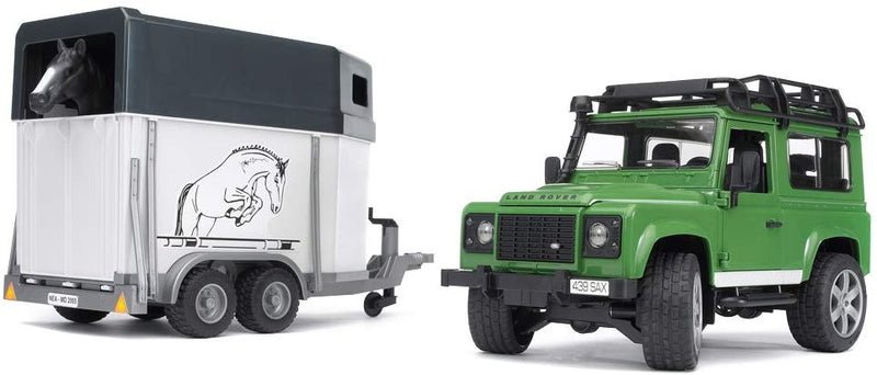 Bruder - 02592 | Bruder Land Rover Defender With Horse Trailer And 1 Horse - 02592