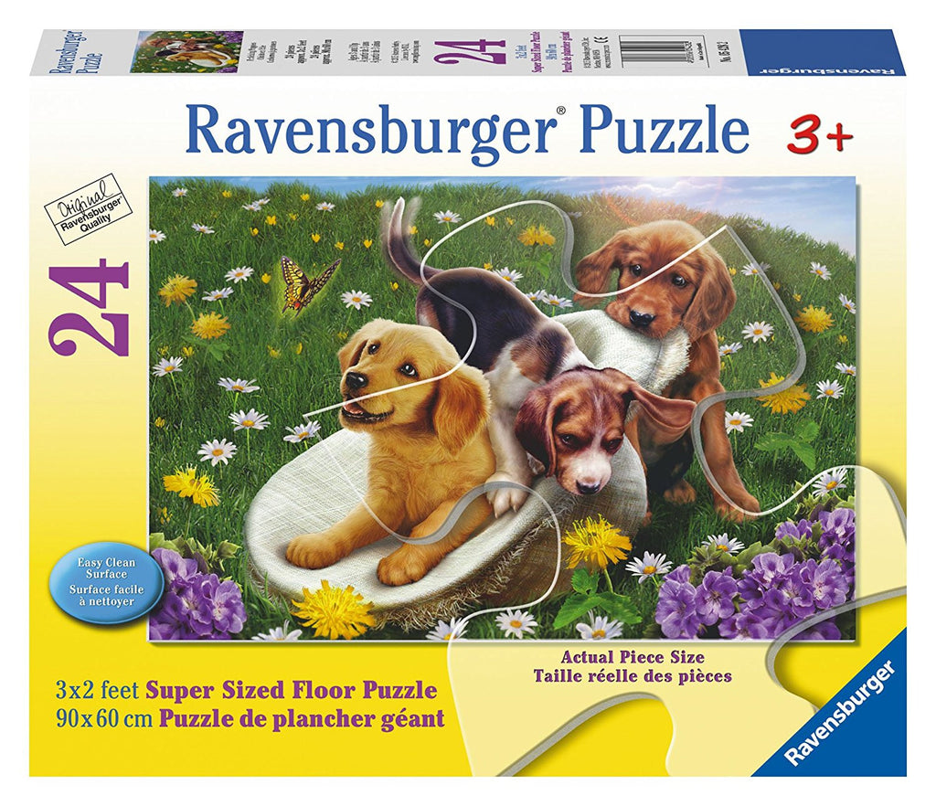 Ravensburger 24 Pieces Puzzle Floor Frolicking Puppies - 05428