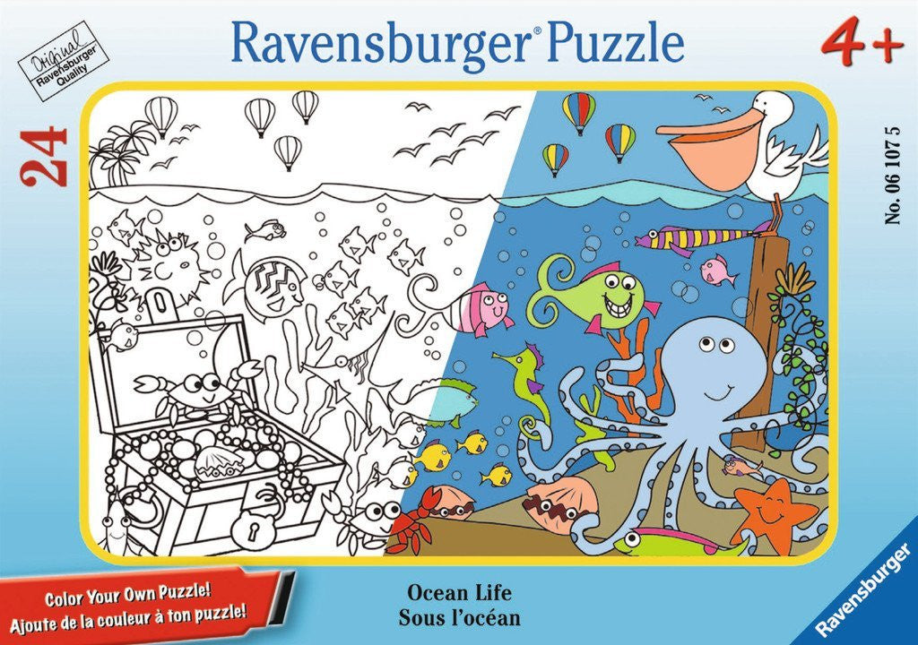 Ravensburger 24 Pieces Puzzle Colour-Your-Own Ocean Life - 06107