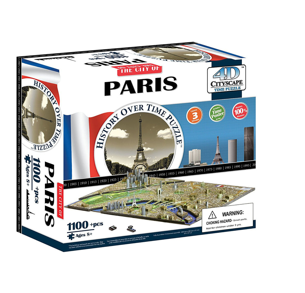 This puzzle recreates Paris' famous skyline, not only in three-dimensions, using scale-model buildings, but also along the fourth dimension of time, spanning 650 years of architectural history. The puzzle includes 80 building replicas that depict The City of Light as it appeared as far back as 1345 through to 2015, and includes such iconic structures as the Eiffel Tower, Arc de Triomphe, and Notre Dame Cathedral. The base of the puzzle is a traditional 2D jigsaw puzzle composed of 870 pieces that forms the