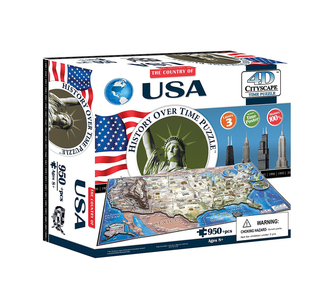 "4D Cityscape allows you to build the history over the 4th Dimension of Time. Starting with base layer 1, our unique jigsaw play showcase the evolution of the USA - based on territorial expansion from the year 1783 to the 1900's. You then assemble the 2nd layer ""modern"" jigsaw map - which showcases the formation of all 50 states in a time sequence based on each State's date of established statehood. The third layer allows you to place all the 3D buildings into the puzzle according to time as well."