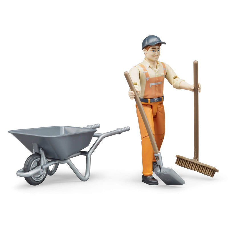 Bruder - 62130 | Municipal Worker with Wheel barrel, Shovel and Broom