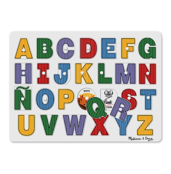 Melissa & Doug 3271 See-Inside Spanish Alphabet Peg Puzzle - 27 Pieces