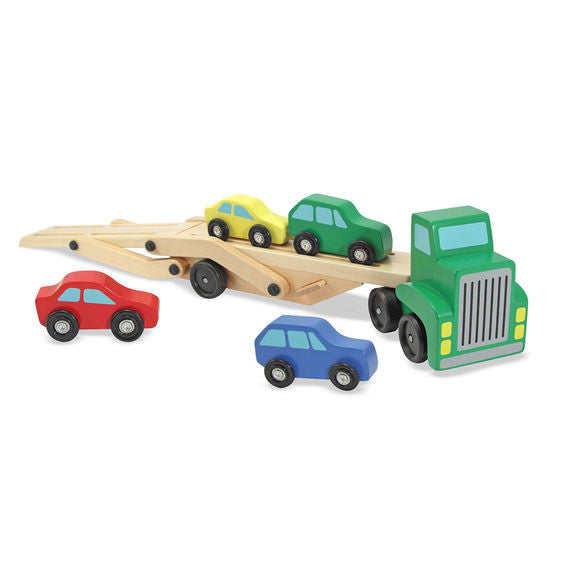 Melissa & Doug - 4096 | Car Carrier Truck & Cars Wooden Toy Set