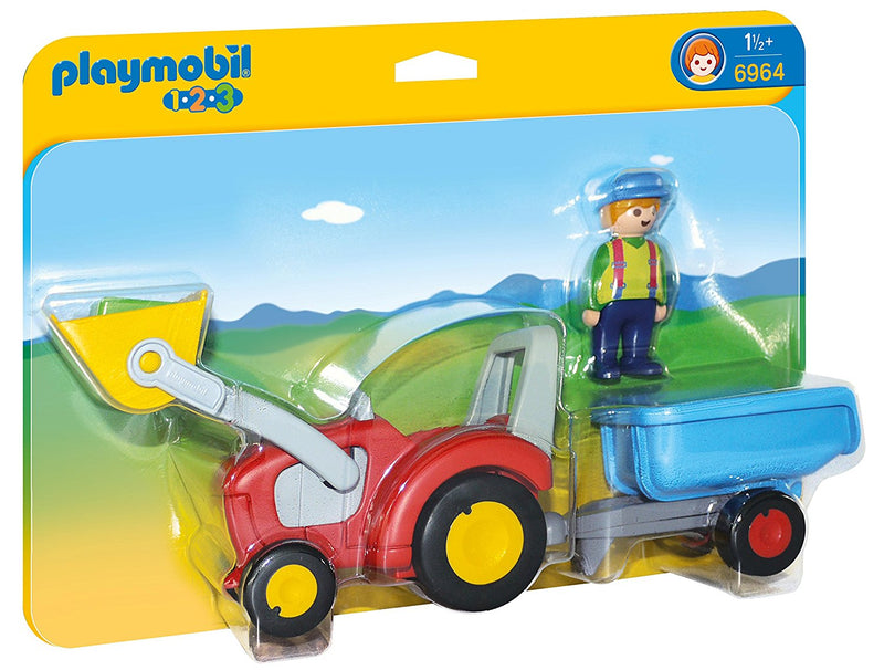 Playmobil - 1-2-3: Tractor With Trailer