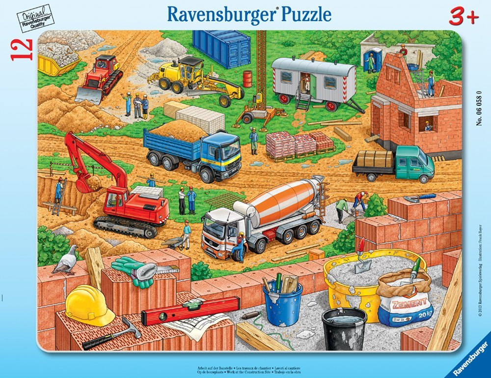 Ravensburger - 06058 | My First Frame Puzzle: Work At The Construction Site  (12 Piece Puzzle)
