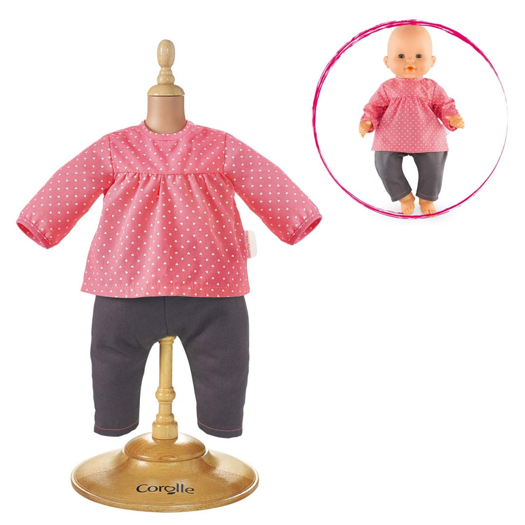 Corolle DMN11 Blouse And Denim Raspberry For 14-Inches Baby Doll