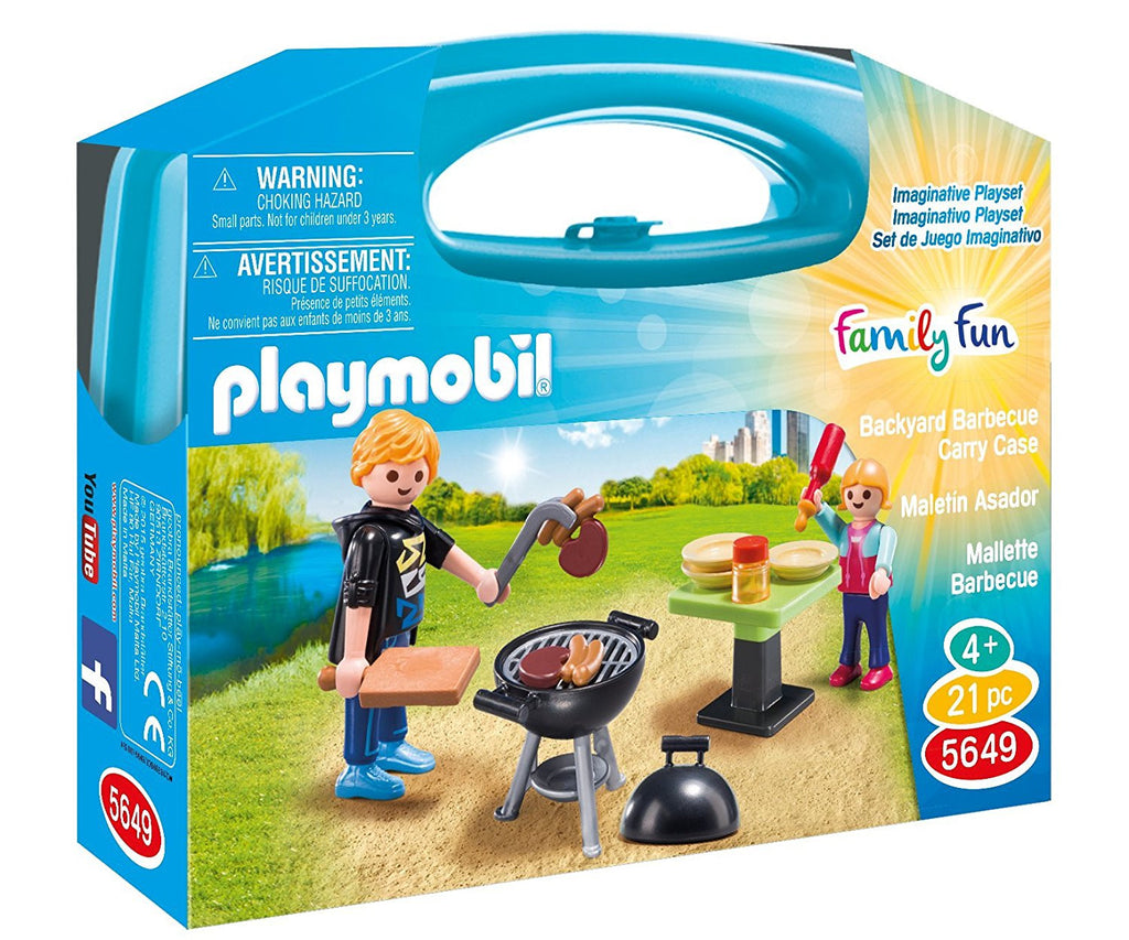 Host a sizzling summer party with the Backyard Barbecue Carry Case. Enclosed in an easy, take-along case, this set comes equipped with one adult figure, one child figure, grill, tongs, steak and hotdog, table, condiments, plates, and other accessories. When playtime is over, simply store the pieces inside the case for next time! Recommended for ages four to ten.