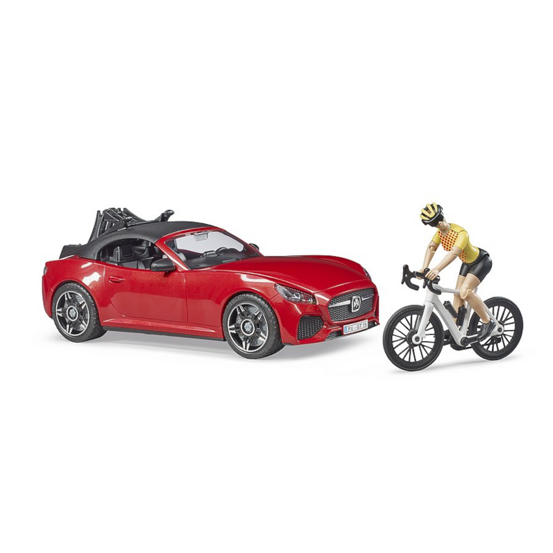 Bruder - 03485 | Leisure: Roadster with Racing Bicycle and Cyclist