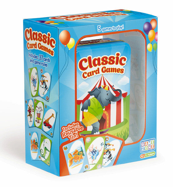 All your favorite classic card games can be played with these colorful playing cards! Includes: 37 cards and game rules. • 5 classic games • 2-4 players