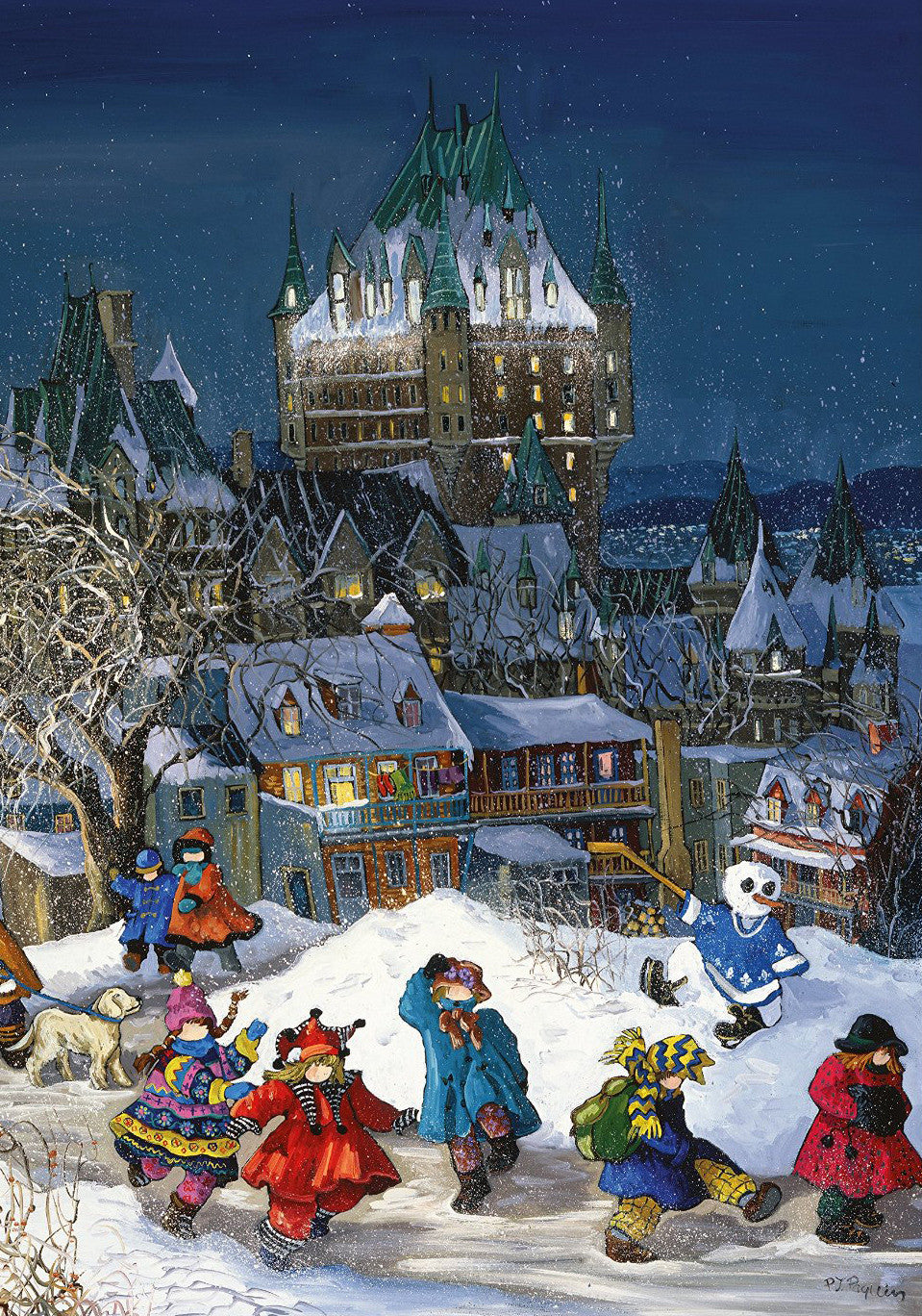 1000 PC PZ PAQUIN: CHATEAU FRONTENAC, QC  Pauline Paquin is a mother of three residing in Sainte-Adele, Quebec, where she has relentlessly been pursuing her true passion found in 1979. As a figurative artist with an acute sense of observation, a flair for details, and a vivid color palette, Pauline through her canvases brings to life the magical moments of childhood. With each stroke of the brush she conveys her sensitivity with a touch of memories, of motherhood, of nostalgia and of reality. Each canvas de