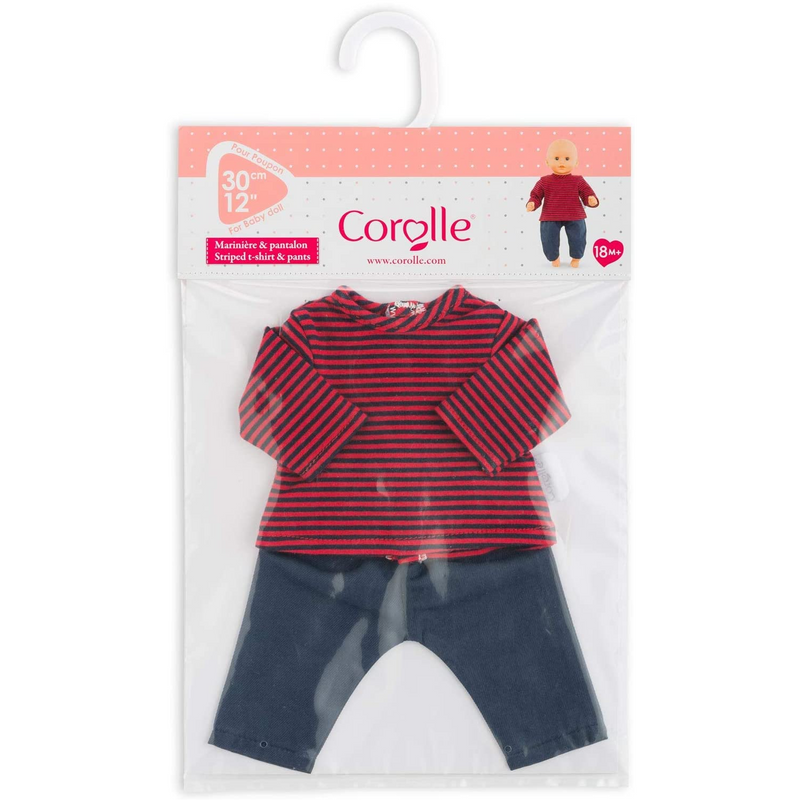 "Corolle - 110390 | 12"" Pants & Striped T-Shirt"