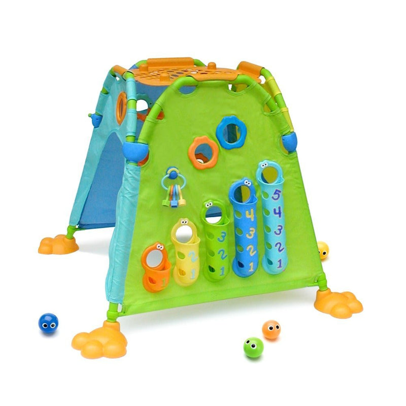 Hours of stimulating play in the perfect hide-away| This sturdy playhouse features activities on both the inside and outside to encourage physical and cognitive development through rewarding, imaginative play. Includes ball play, shape sorting, peek-a-boo games, and more. Big and roomy - perfect for cooperative play between multiple children. Constructed from folding frames with fabric sides, and folds up quickly for storage and portability. Easy to assemble.