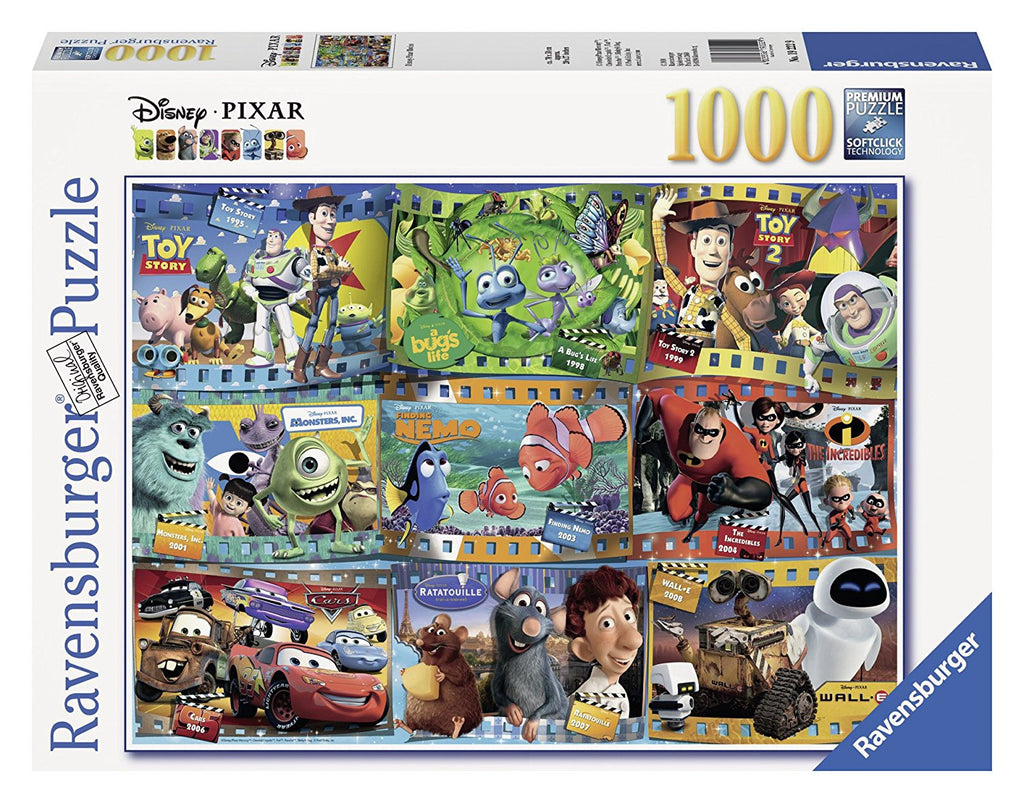 Perfect for a Disney Pixar fan, this 1,000-piece puzzle features classic scenes from favorite films including Toy Story, A Bug's Life, Monsters, Inc., Finding Nemo, Cars, Ratatouille, Wall-E, and The Incredibles.