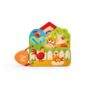 Hape - E0046 | Wooden Farm Animal Baby Book