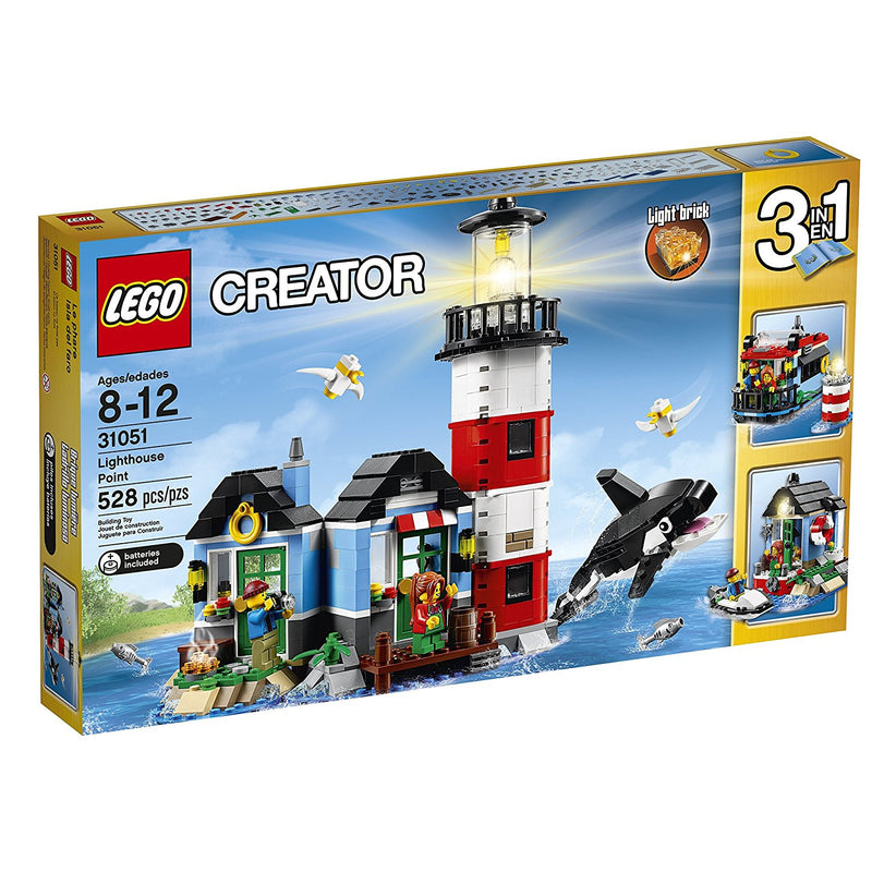 Enjoy seashore adventures with this amazing 3-in-1 LEGO creator set, featuring a cozy lighthouse and light keeper's cottage with a detailed interior, including a table, chair, lamp and a painting. Climb up to the gallery for a bird's-eye view and turn on the lighthouse beacon to guide passing ships. Then enjoy a delicious drink at the light keeper's cottage, where you can see the friendly orca go by, before a pleasant evening sat around the open fire while the waves lap on the seashore. When you feel like a
